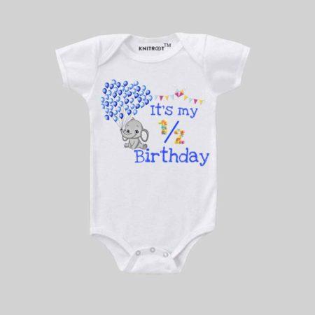 half birthday Baby Rompers|knitroot