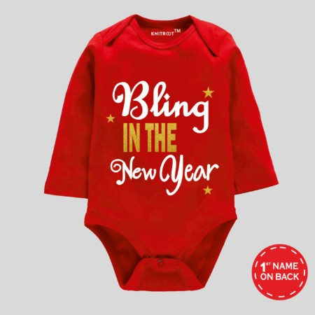 red baby romper | new year baby romper | Knitroot