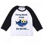 party-shark-raglan-long-sleeve-white-black-baby-romper-knitroot