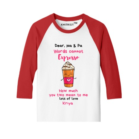love you mummy papa | customized kids t-shirt | Valentines with family | knitroot