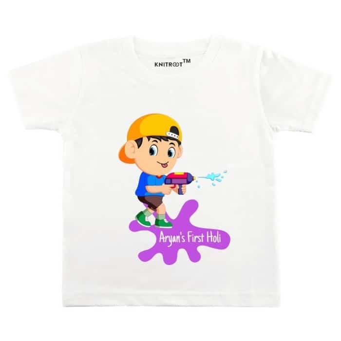 Happy Holi Kids Shirt Cute Newborn Gift Indian Baby Shower Hindu Toddler Celebration TShirt First Holi Baby Gift My 1st Holi Hai Shirt