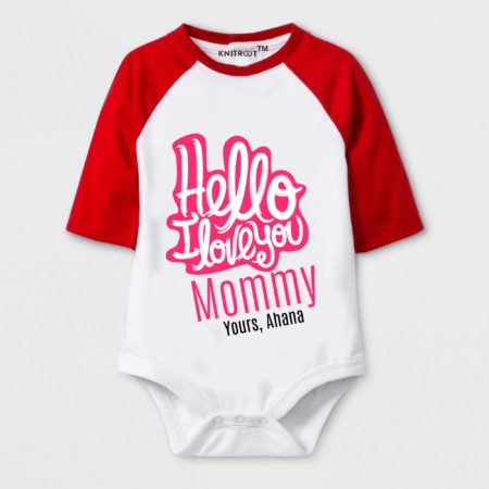 I love you mom   baby romper   unique best gift   knitroot
