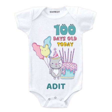 New Baby Personalized Romper 100 days old Today