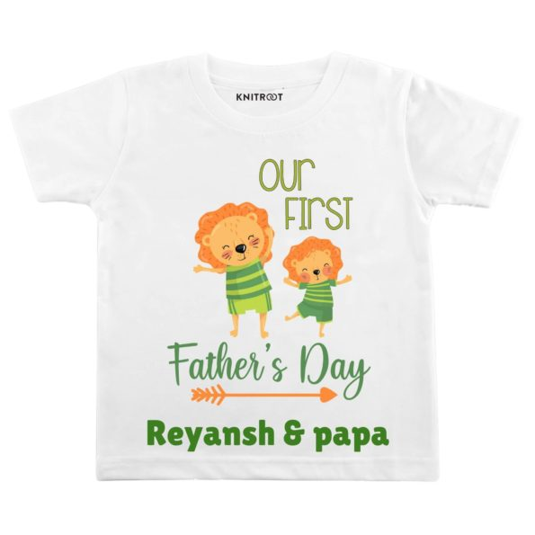 our first father day baby and papa white tshirt