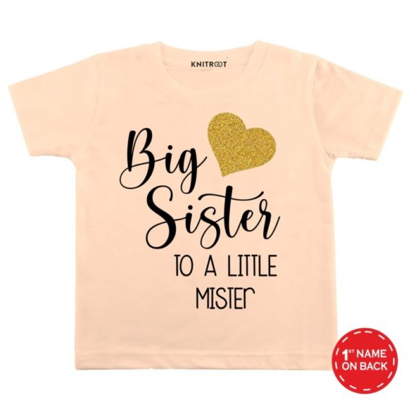 big-Sister-peach-color-customize-T-shirts-For-Kids