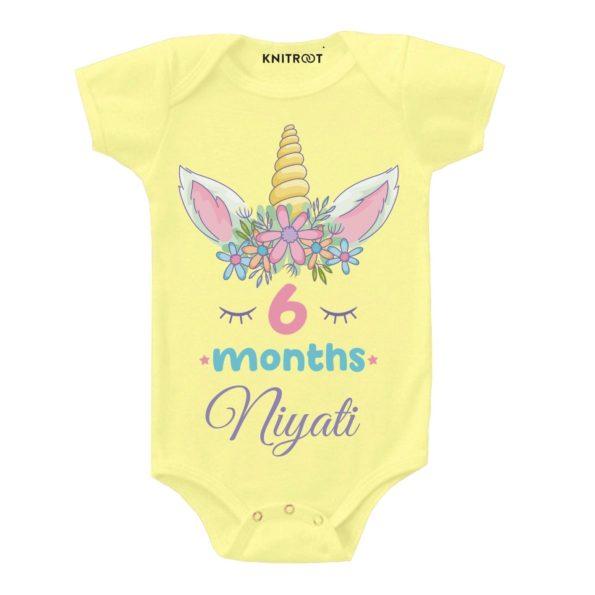 6 Months Unicorn Design Onesie (Yellow)