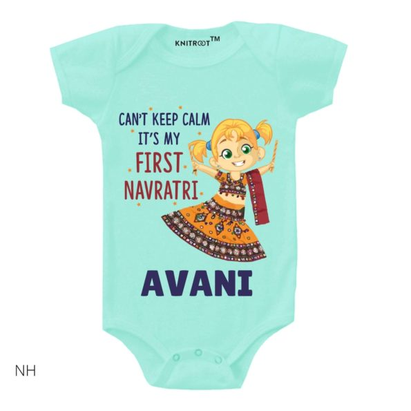 Can't Keep Calm It's My First Navratri Girl Onesie (Blue)
