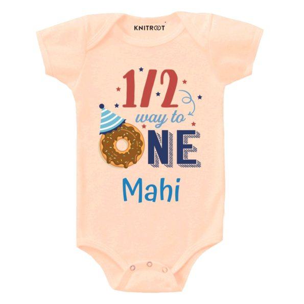 Half Way To One Theme Onesie (Peach)