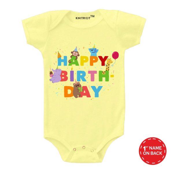 Happy Birthday Party Design Onesie (Yellow)
