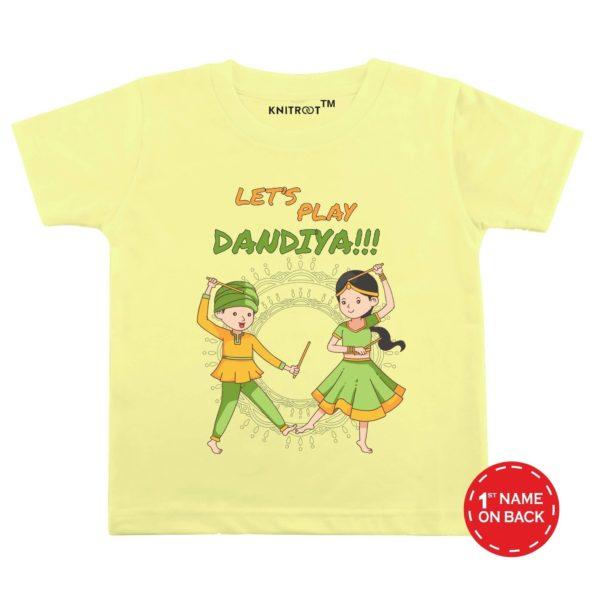 Lets Play Dandiya!!! T-shirt (Yellow)