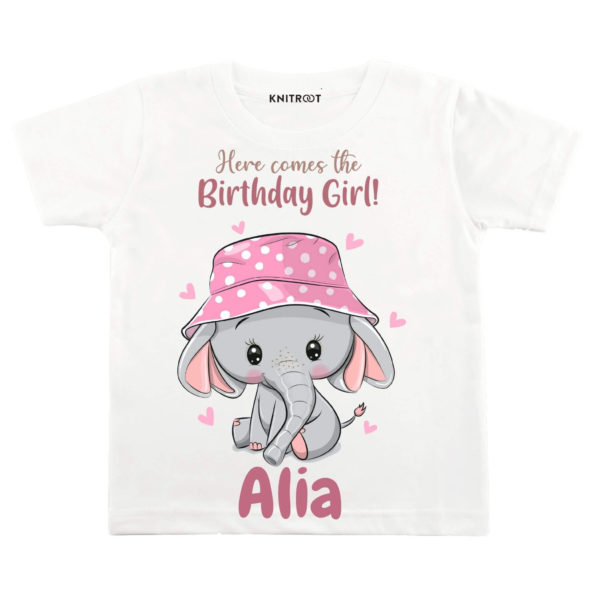 Here Comes The Birthday Girl Elephant T-shirt