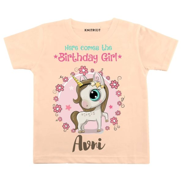 Here Comes The Birthday Girl T-shirt (Peach)