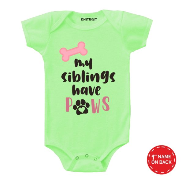 My Sibling Have Paws Design Onesie (Green)