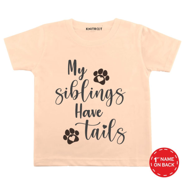 My Siblings Have Tails T-shirt (Peach)