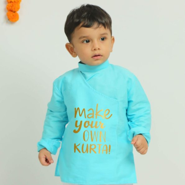 personalized baby kurtas in blue color