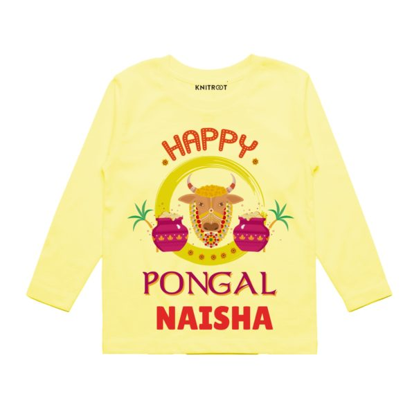 Happy pongal in yellow color tee