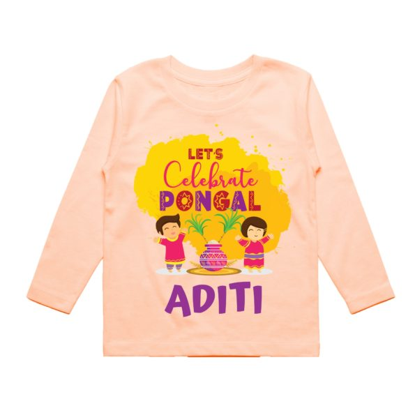 Lets celebrate pongal in peach tee
