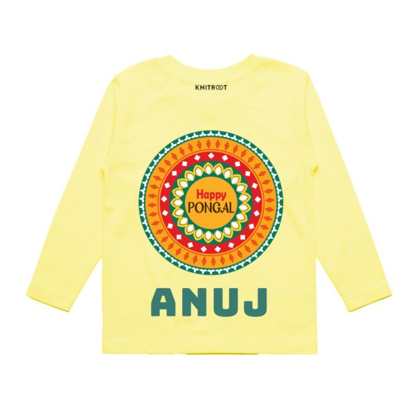 happy pongal kids outfit in yellow