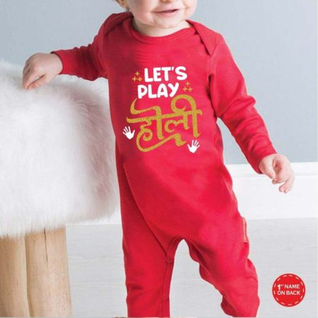 Let's Play Holi Red baby jumpsuit