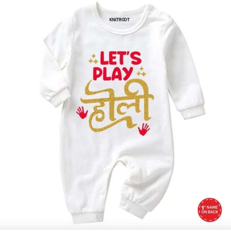 Let's Play Holi White baby jumpsuit