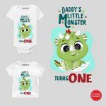 Little monster Turns One baby wear